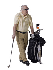 old golfer with bag beside