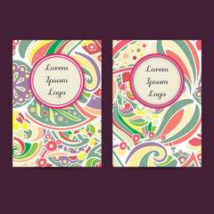 Vector set of boho leaves & paisleys card template designs, perfect for brochure covers, leaflets, flyers, cards and invitations. Doodle design.