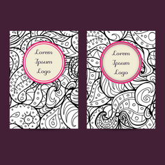 Vector set of boho black and white card template designs, perfect for brochure covers, leaflets, flyers, cards and invitations. Doodle design.