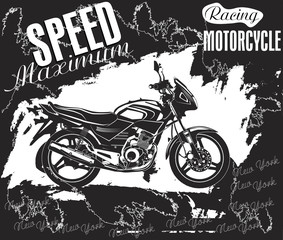 Motorcycles label design with hand drawn motorcycle for posters, t-shirts, greeting cards etc. Vector illustration.
