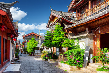 Keuken foto achterwand China Scenic street in the Old Town of Lijiang, Yunnan province, China