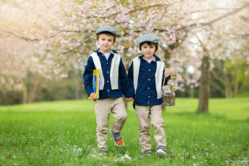 Two cute children, boy brothers, walking in a spring cherry blos