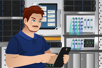 Man Working in Computer Server Room