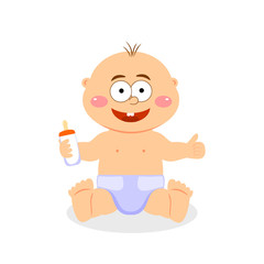 Cute baby boy sitting in a diaper. Vector illustration.