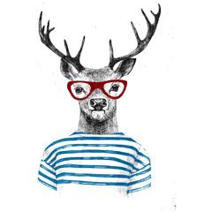 Hand drawn dressed up deer