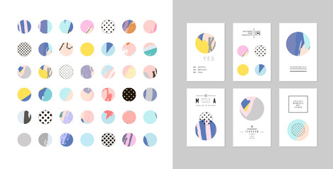 Collection of decor elements and stickers with hand drawn textures