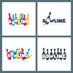 Set of vector hand drawn bowling logo, icons and emblems. Doodle colorful lettering. Bowling ball and bowling pins symbol. Trendy design for bowling center, tournament or championship.