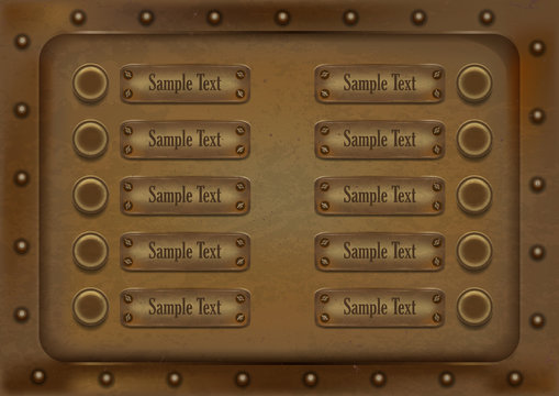 10 metallic background banners with buttons and rivets.vector illustration