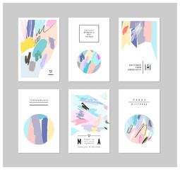 Set of creative cards and posters with geometric outline shapes.