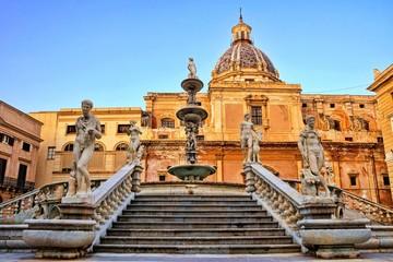 Aluminium Prints Palermo Beautiful Fontana Pretoria of Palermo, Sicily at dusk