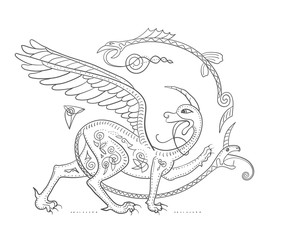 Griffin fantasy monster creature. Medieval style illustration ci