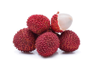 lychees isolated on white