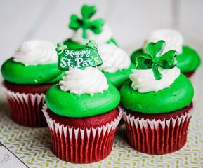St.Patrick's Day velvet cupcakes