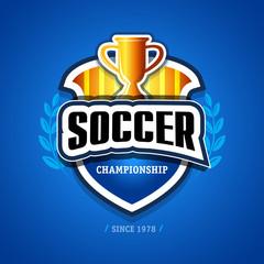 Soccer, football logo. Yellow, gold and dark blue soccer football badge logo design template, sport logotype template. Soccer Themed T shirt. Football logo. Vector illustration.