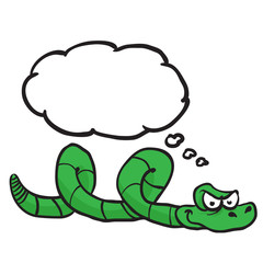 green snake with thought bubble
