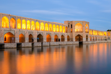 Khaju-Bridge after sunset, Isfahan