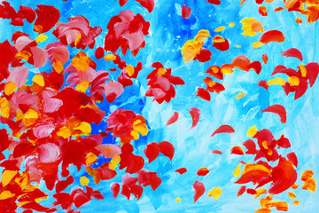 watercolor painting with rose petals, illustration, background,wallpaper