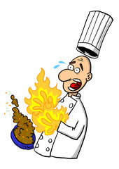 A chef or cook burning their hands on a hot dish