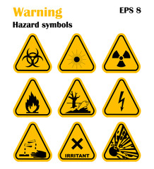 Vector Set of Triangle Yellow Warning Icons