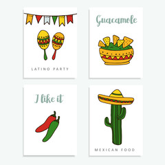 Set of hand drawn mexican cards for invitations or restaurant menu, doodle illustratios