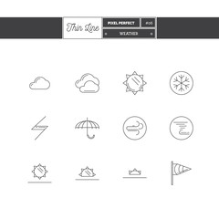 Thin line icon set of local current weather conditions. Includin