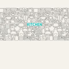 Kitchen Utensils Line Art Seamless Web Banner