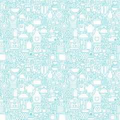 Thin Line Kitchen Appliances and Cooking White Seamless Pattern