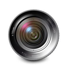 Camera lens isolated on white background. Vector illustration