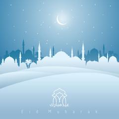 Eid mubarak greeting mosque night silhouette