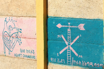 Pedagogical wall in the local school. Berahile-Ethiopia. 0410