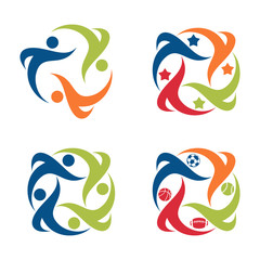 Star Sport Group Team People Symbol Icon Set