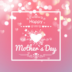 Happy mothers day card on bokeh background