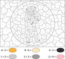 Cartoon Asiatic black bear. Color by number educational game for