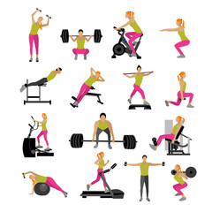 Fitness and workout exercise in gym. Vector set of icons flat style isolated on white background
