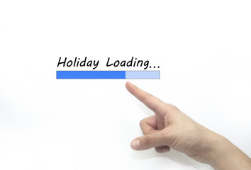 holiday loading bar whit hand. holiday concept