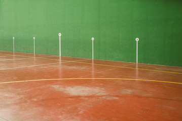 Detail of the marks in an fronton court, basque ball, Spain