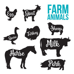 Black contour farm animals with a white inscription inside, vector set of different animals, cattle, poultry, horned animal, domestic goose, food, animal outline for the product