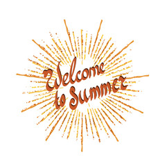 logo with Welcome to summer text with sunshine