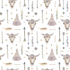 Watercolor boho seamless pattern with teepee, arrows, feathers,