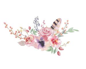 Watercolor vintage floral bouquet. Boho spring flowers and leaf