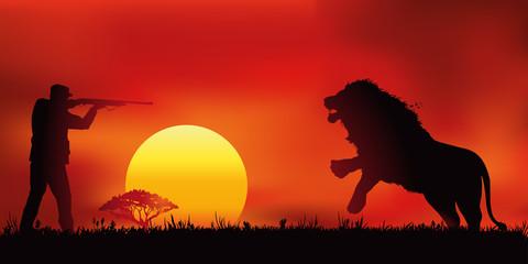 Chasse au Lion - Coucher de soleil