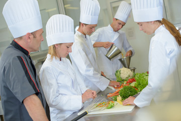 Students on a cookery course