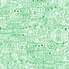 Vector illustration of a doodle marine life pattern