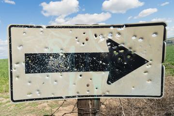 Rural Countryside Right Turn Arrow Sign Bullet Holes Gunshot