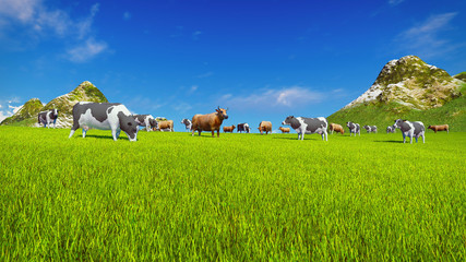 Wall Mural - Herd of dairy cows graze on a green alpine meadow with mountain peaks on the background. Low angle view. Realistic 3D illustration.
