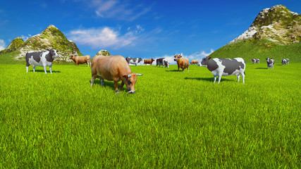 Wall Mural - Dairy cows graze on a verdant alpine pasture at sunny day. Mountain peaks and blue sky on the background. Realistic 3D illustration.