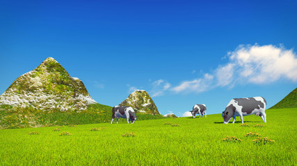 Wall Mural - Farm landscape with a few mottled dairy cows grazing on a verdant alpine meadow at sunny day. Mountain peaks on the background. Realistic 3D illustration.