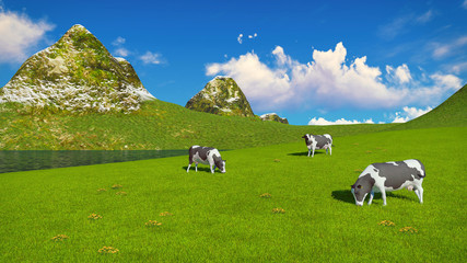Wall Mural - Few mottled dairy cows graze on a verdant alpine pasture at sunny day. Mountains and lake on the background. Realistic 3D illustration.