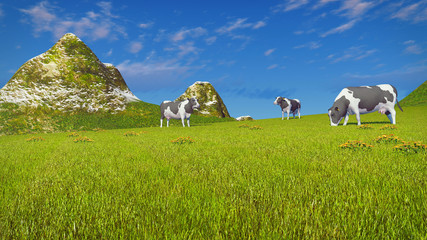Wall Mural - Farm landscape with a few mottled dairy cows grazing on a verdant mountain pasture at sunny day. Low angle view. Realistic 3D illustration.