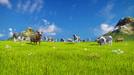 Wall Mural - Herd of dairy cows graze on a spring alpine meadow with mountains and blue sky on the background. Low angle view. Realistic 3D illustration.